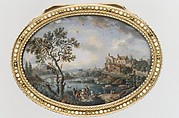 Snuffbox with scene of peasants picnicking on a riverbank near a village