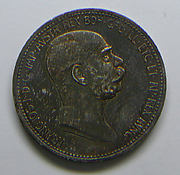 Austrian 1 crown-piece of the 60th year of the reign of Emperor Francis Joseph