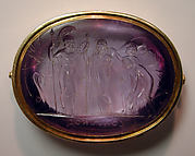 Chryseis with an attendant bearing presents, praying to Menelaus to restore his daughter