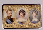 Snuffbox with portraits of Empress Maria Feodorovna, her Son Grand Duke Michael Pavlovich, and her daughter-in-law Elena Pavlovna
