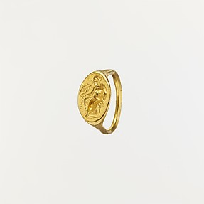 Gold ring with intaglio of seated woman and flying Eros