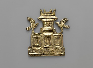 Reproduction of a gold  tripartite shrine with birds