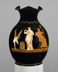 Terracotta oinochoe (jug) with Pompe between Eros and Dionysos