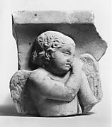 Marble sarcophagus fragment: Eros leaning on a reversed torch