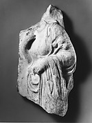 Marble relief fragment with the torso of a Hesperid holding apples