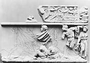 Fragmentary marble sarcophagus with scenes from the Oresteia