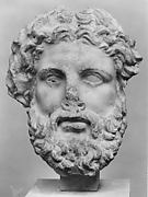 Marble head of a god, probably Zeus