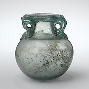 Glass aryballos (oil bottle)