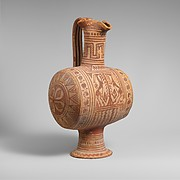 Terracotta barrel-shaped oinochoe (jug)