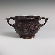 Terracotta kantharos (drinking cup) with vertical ring handles