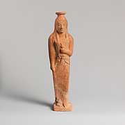 Terracotta vase in the form of a woman holding a bird