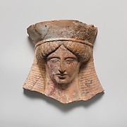 Terracotta relief head of a woman