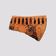 Fragment of a terracotta krater or dinos (bowl for mixing wine and water)