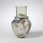 Indented glass jar