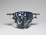 Glass gold-band mosaic scyphus (drinking cup)