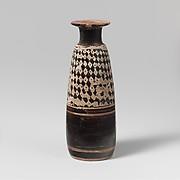 Terracotta Columbus alabastron (perfume vase)