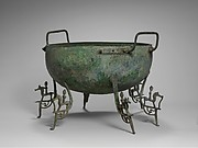 Bronze basin with six legs