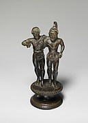 Bronze finial of two warriors from a candelabrum