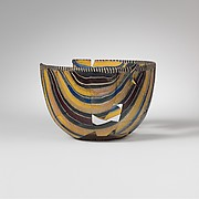 Striped mosaic glass bowl