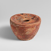 Terracotta inkwell and bronze stylus