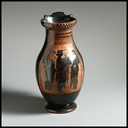 Terracotta oinochoe: olpe (round-mouthed jug)