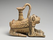 Terracotta askos (vessel) in the form of a lion