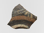 Terracotta vase fragment with floral decoration and bands
