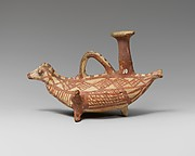 Terracotta askos (flask with a spout and handle over the top) in the form of a bird