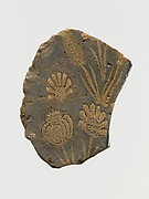 Glass mosaic plaque fragment with floral motifs