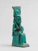 Faience amulet of Isis and Horus