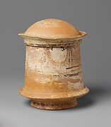 Terracotta pyxis (cosmetic box) with domed lid