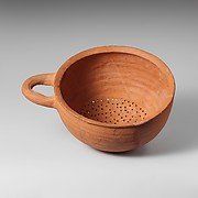 Terracotta hemispherical strainer