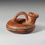 Terracotta ring askos (flask with a spout and handle over the top)