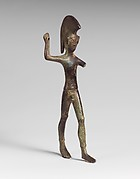 Bronze statuette of a striding warrior