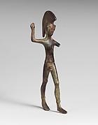 Bronze statuette of a striding warrior