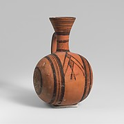 Terracotta barrel-shaped jug