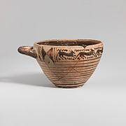 Terracotta one-handled skyphos (deep drinking cup)