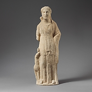 Limestone statuette of Artemis with a fawn