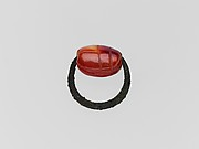 Bronze ring with carnelian scarab