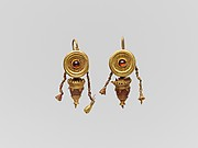 Pair of gold, garnet, and glass paste disk and pendant earrings