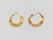 Earring, crescent-shaped, decorated