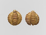 Pair of gold ornaments comprised of three leech-shaped elements