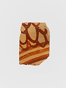 Terracotta vessel fragment with three bands and a scale pattern