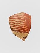 Terracotta vessel fragment with linear motifs
