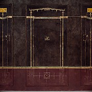 Wall painting on black ground: Aedicula with small landscape, from the imperial villa at Boscotrecase