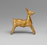 Gilt terracotta statuette of a goat