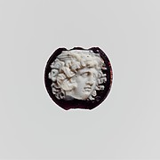 Cameo glass disk with Medusa head