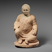 Limestone statuette of a temple girl