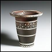 Terracotta kalathos (vase in the shape of a wool basket)