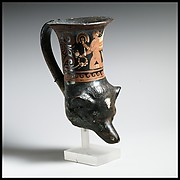 Terracotta rhyton in the shape of a dog's head